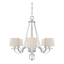 Quoizel - Quoizel UPSP5006IS Sutton Place Transitional Chandelier - Sutton Place is a tony address for some of the wealthiest residents of New York. Optic glass accents and milano fabric shades compliment the imperial silver finish.  This collection is fittingly discrete, elegant and quite sophisticated.