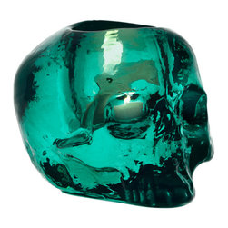 Kosta Boda - Still Life Votive, Skull, Green - The skull is a symbol that triggers many emotions and has brought Kosta Boda into the world of rock and pop. In 2011, the Still Life skull now comes in this almost luminous shade of green. Designed by Ludvig L'fgren