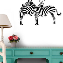 Wallmonkeys Wall Decals - 2 Zebras Wall Decal - 18 Inches W x 13 Inches H, 60-Inch X 42-Inch - Easy to apply - simply peel and stick!