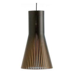 """Secto Design - Secto Design Secto 4201 pendant light - The Secto 4201 pendant lamp was designed by Seppo Koho and made by Secto Design in Finland. This beautiful lampshade is designed entirely by hand in Finland of Finnish birch by highly skilled craftsmen.  The shades are made of laminated birch slats connected by rings of aircraft plywood.  The following finish options are available: natural birch, white laminated birch and black laminated birch. Tube-shaped energy efficient bulbs suit the Secto Design Shades best and give about five times more light than incandescent bulbs.  Product Details: The Secto 4201 pendant lamp was designed by Seppo Koho and made by Secto Design in Finland. This beautiful lampshade is designed entirely by hand in Finland of Finnish birch by highly skilled craftsmen.  The shades are made of laminated birch slats connected by rings of aircraft plywood.  The following finish options are available: natural birch, white laminated birch and black laminated birch. Tube-shaped energy efficient bulbs suit the Secto Design Shades best and give about five times more light than incandescent bulbs. Details:                                     Manufacturer:                                      Secto                                                     Designer:                                     Seppo Koho                                                     Made in:                                     Finland                                                     Dimensions:                                      Height: 17.7"""" (45 cm) X Diameter: 9.8"""" (25 cm) X Cable L: 59"""" (150 cm)                                                     Light bulb:                                      1 X  60W Max Incandescent (not included) or 1 X 20-30W energy saving tube shaped E27 based.                                                     Material:                                      Birch Wood"""