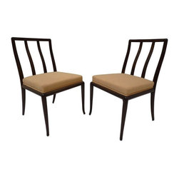 "Pre-owned Robsjohn-Gibbings Chairs - A Pair - This pair of Walnut occasional chairs by Robsjohn-Gibbings for Widdicomb are in excellent restored condition and newly upholstered with new foam. These sleek little puppies are graceful and classy to the MAX! Seating height is 19""."