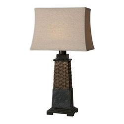 Uttermost - Distressed Ratan Lavaca 1 Light Table Lamp - Distressed Ratan Lavaca 1 Light Table Lamp
