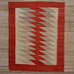 "ALRUG - Handmade Beige Oriental Kilim  5' 4"" x 6' 5"" (ft) - This Afghan Kilim design rug is hand-knotted with Wool on Wool."