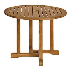 "Oxford Teak 36"" Round Dining Table - Adorable Oxford Table makes a nice mate by the pool, on the patio, or with our Oxford backyard collection.  Diameter is 36"" polished and finely sanded Teak finish. It's not too big, and not too small."