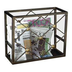 Button Magazine Holder - The combination of warm brass and bronze iron in the Button Magazine Holder makes for a casual mixed-metal element evocative of the period French garden's penchant for even latticework and rich metal structures. For bedroom, bath, or living room, this magazine rack is a gracefully traditional interpretation of an age-old motif, made striking by the interplay of metal tones.
