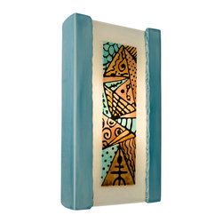 A19 - Abstract Wall Sconce Teal Crackle and Turquoise - Abstract is rectangular from the front and back, trapezoidal from the top or bottom, with gently curving sides. Light shines through openings at the top, the bottom and beautifully brings to life the unique enigmatic aesthetic of the hand-painted and kiln fired glass front.