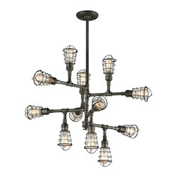 Troy Lighting - Troy Lighting F3817 Conduit Single Tier Chandelier - Restoration-Vintage Single Tier Chandelier in Olde Silver from the Conduit Collection by Troy Lighting.