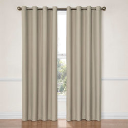 Eclipse - Dane String 52-Inch x 84-Inch Blackout Window Curtain Panel - - Transform any room in your home with the Eclipse Dane blackout curtain. Independently tested, eclipse offers a superior blend of window fashion design and blackout technology for any decor. Update the bedroom, living room or dining room and enjoy the light blocking, noise reducing, energy-saving benefits of Eclipse.  - Perfect for daytime sleepers of all ages, home theater enthusiasts, and energy saving conscious home owners, Eclipse curtains offer style versatility for any living space. The patented Thermaback? process transforms ordinary drapery panels into a light-blocking, noise-reducing, energy saving solution for the home. The white, foam backing technology enhances any window treatment while allowing for the same drapability of naturally flowing curtains.  - Hang eclipse curtains in any bedroom to achieve an optimal sleeping environment. Each Eclipse Dane grommet panel measures an extra wide 52-in in your choice of 63-in, 84-in or 95-in lengths. 1.5-in silver grommet accommodates a 1-in rod. Intricate dobby weave creates subtle textured pattern.  - Hang two drapery panels on decorative curtain rod for optimal light-blocking coverage and decorative style.  - Curtain rod sold separately. Available in 5 fashion colors including black, chocolate brown, smoke grey, and river blue, string beige. Sold as single panel. 100% polyester.  - Machine wash cold, tumble dry, do not bleach. Imported. Eclipse - 12972052084STR