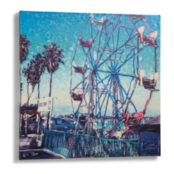"""Grandin Road - Ferris Wheel Outdoor Art - 24"""" x 24"""" - Reproduction of an original work of art, designed to live outdoors. Printed on canvas. Stretched over an all-weather frame. 100% Waterproof. Coated on both sides with a UV protectant, to prevent fading. Cheer up your outdoor living room with our vibrant Ferris Wheel outdoor wall art. This rippled view of a beachside classic has been digitally reproduced as a giclee print on an artist's canvas, gallery-wrapped over an all-weather frame.  .  .  .  .  . Arrives ready to hang ."""