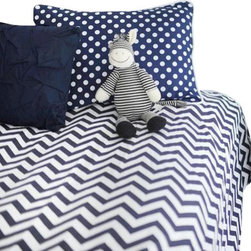 New Arrivals Inc. - Chevron Navy Zig Zag Kids Bedding Twin Coverlet - Inspired by the popular chevron pattern, the Chevron Navy Zig Zag Kids Bedding Set by New Arrivals Inc. is fun for a new big girl or boy room! Gray and white give a clean modern look to the room. Create a modern, yet sophisticated room by adding whimsical accessories and room decor items. Choose from Duvet Cover or Coverlet.