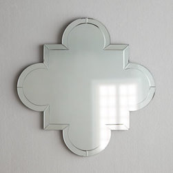 """Horchow - Quatrefoil Mirror - A classic quatrefoil mirror takes on a glamorous edge with a mirrored frame for twice the reflectivity. Handcrafted. D-ring for hanging. 30""""W x 1.25""""D x 30""""T. Imported. Boxed weight, approximately 37 lbs. Please note that this item may require a..."""