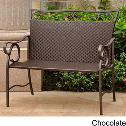 International Caravan - International Caravan Valencia Brown Resin Wicker/ Steel Loveseat - Add a comfortable place to sit outside and enjoy nature with this stylish wicker loveseat. This elegant seat for two is made of steel,with a powder-coated matte brown finish and brown woven wicker,making it very durable and weather resistant.