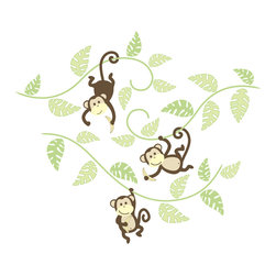 "WallPops - Monkeying Around Wall Art Decal Kit - Happy monkeys, swinging from the trees with bananas adds some jungle fun to your child's room! These wall art decals bring imagination and happiness to the walls. This kit comes with 2 sheets of fun-loving monkeys and vines to create your splendid scene, measuring 45.5""h x 44""w!"