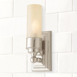 "Sussex Tube Sconce, Single, Set of 2, Polished Nickel finish - Our Sussex Tube Sconce has a versatile design that suits baths of all styles. It has a thick frosted-glass shade. 4"" wide x 4.5"" deep x 13"" high Crafted of forged and stamped brass. Thick frosted-glass shade. Hardwire; professional installation recommended. UL-listed. View our {{link path='pages/popups/fb-bath.html' class='popup' width='480' height='300'}}Furniture Brochure{{/link}}. Catalog / Internet Only."
