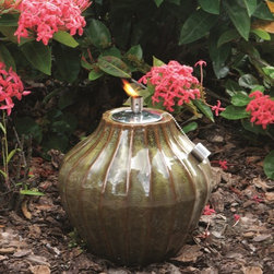 """Smart Solar - Prometheus Ceramic Garden Torch - 10""""H - Sierra Garden - Hand crafted 10""""H ceramic fire pot. Outdoor accent piece to line walkways or use as centerpiece. Aluminum cylinder includes wick. Burns for approximately 1 hour per 1 ounce of lamp oil (not included). Can be used with citronella lamp oil to keep mosquitoes away. One year limited warranty. 10 in. Diameter x 10 in. HThe Prometheus ceramic garden torch is an outdoor accent piece perfect for lining walkways or as a centerpiece on a table. Create warmth and ambiance with this hand crafted garden torch with a unique Blue Midnight glazed finish. It burns for approximately one hour per one ounce of lamp oil used. Cylinder includes wick."""