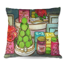 DiaNoche Designs - Pillow Linen - Diana Evans Laduree Window Shopping I - DiaNoche Designs works with artists from around the world to create astouding and unique home decor products.  Add a little texture and style to your decor with our Woven Linen throw pillows.  The material has a smooth boxy weave.  Each pillow is machine loomed, then printed and sewn ALL IN THE USA!!!  100% smooth poly with cushy supportive pillow insert with a hidden zip closure. Dye Sublimation printing adheres the ink to the material for long life and durability. Double Sided Print, machine wash upon arrival for maximum softness. Product may vary slightly from image.