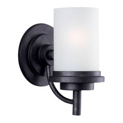 Seagull - Seagull Winnetka Bathroom Lighting Fixture in Blacksmith - Shown in picture: 44660-839 One Light Wall / Bath in Blacksmith finish with Satin Etched�Glass