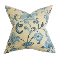 """The Pillow Collection - Duscha Floral Pillow Blue Yellow 18"""" x 18"""" - Adorn your living space with this exquisite throw pillow. This square pillow brightens up your rooms with its lush floral pattern in shades of blue, yellow and white. Prop up this accent pillow in your sofa, bed or couch for added comfort and texture. This decor pillow is made with a blend of 55% linen and 45% rayon materials. Hidden zipper closure for easy cover removal.  Knife edge finish on all four sides.  Reversible pillow with the same fabric on the back side.  Spot cleaning suggested."""