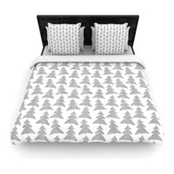 "Kess InHouse - Michelle Drew ""Herringbone Forest Black"" Gray White Fleece Duvet Cover (King, 10 - You can curate your bedroom and turn your down comforter, UP! You're about to dream and WAKE in color with this uber stylish focal point of your bedroom with this duvet cover! Crafted at the click of your mouse, this duvet cover is not only personal and inspiring but super soft. Created out of microfiber material that is delectable, our duvets are ultra comfortable and beyond soft. Get up on the right side of the bed, or the left, this duvet cover will look good from every angle."