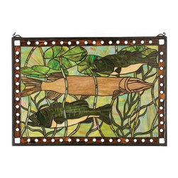 None - Pike and Bass Stained Glass Window - Give your den,bedroom,or game room a unique finish with this multicolored stained-glass window. Featuring a striking fish and pond life scene,this beautiful accent piece would make a wonderful gift for a dedicated art-lover or fisherman.