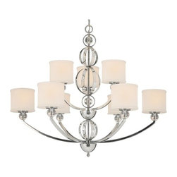 Golden Lighting - Golden Lighting 1030-9 Modern Nine Light Chandelier from the Cerchi Collection - Modern Nine Light Chandelier from the Cerchi CollectionThe Cerchi Nine Light Chandelier provides sophisticated modern style at an affordable price.  Its polished chrome finish on metal frame with clear acrylic balls style beautifully with etched opal glass. Features