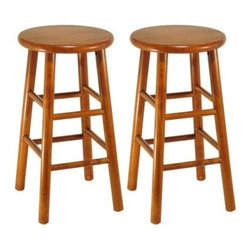 Winsome Trading, INC. - Winsome Wood Assembled 24-Inch Cherry Finish Kitchen Stools, Set of 2 - Solid wood construction bar stool. All assembled. Cherry Finish, Bevel seat provides comfort seating.