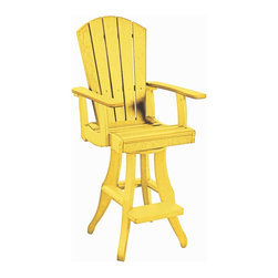 C.R. Plastic Products - C.R. Plastics Swivel Arm Pub Chair In Yellow - Can be used for residential or commercial use, Ergonomically designed, Heavy 78 gauge plastic lumber 12 used by competitors, All stainless steel hardware, No painting, No slivers, No Rot, Completely waterproof