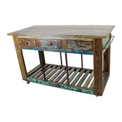 "Rustic Kitchen Island - Traditional rustic design on this solid wood this is the 2-sided kitchen island from Tres Amigos Furniture. Dimensions: 28"" l x 37.5"" h x 60"" w"