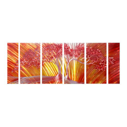 Pure Art - Fiery Oak Tree Wall Art Set of 6 - Lively colors on hand-painted aluminum make this gorgeous six panel metal wall hanging group a fabulous choice in your home. This great six piece set of metal wall art is ideal to showcase your love of finer decor. Display this fabulous grouping depicting a stately abstract oak tree on a large wall to create a focal area. Easy to mount on wall using welded brackets on back of each panelMade with top grade aluminum material and handcrafted with the use of special colors, it is a very appealing piece that sticks out with its genuine glow. Easy to hang and clean.