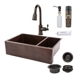 "Premier Copper Products - 33"" Kitchen Apron 75/25 Sink w/ ORB Faucet - PACKAGE INCLUDES:"