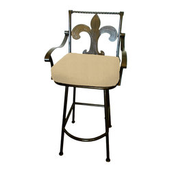 "Surf Side Patio - Fleur-de-lis Grande Swivel Bar stool, Tresco Linen, 24"" Counter Height - Accent your breakfast bar, home bar, tiki bar or patio with the hand crafted, wrought iron Fleur-de-lis Swivel Bar stool.  Made from thick guage, powder coated wrought iron, these gorgeous over sized bar stools swivel 360 degrees and bring a elegant touch to any area of your home, indoor or outdoor."