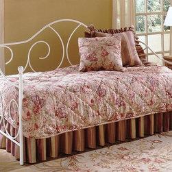 Leggett/Platt Fashion Bed - Caroline Metal Daybed w Link Spring in White - White Finish. Made of metal. Link spring included. 79 3/8 in. W x 39 1/2 in. L x 48 in. H