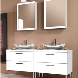 Iotti - 61 Inch Bathroom Vanity Set - Made for the busiest bathrooms, this twin vanity set gives you generous storage and counter space, fabulous Italian styling and long years of service. Finished in either Glossy White, Wenge or Gray Oak, all the finishes are waterproof and stunning. The raised basins have sweeping curves, above wide vanity cabinets with soft closing double drawers. The reversible medicine cabinet doors are scratch and corrosion resistant, revealing two full storage shelves. Set Includes: . Vanity Cabinets (4 drawers). (2) Vessel ceramic sink (19.7 inch x 5.9 inch x 15 inch each). Medicine Cabinets (20.6 inch x 27.7 inch x 5.7 inch each). Vanity Lights. Vanity Set Features:. Vanity cabinets made of engineered wood. Cabinets feature waterproof panels. Available in Gray Oak (as shown), Wenge, Glossy White. Cabinets feature 4 soft-closing drawers. Faucet not included. Perfect for modern bathrooms. Made and designed in Italy. Includes manufacturer 5 year warranty.