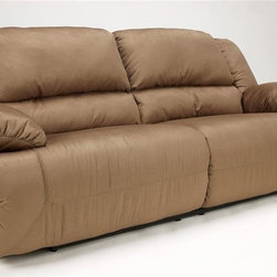 Signature Design by Ashley - 2 Seat Reclining Sofa in Mocha - Material: Polyester (100%). Color/Finish: Mocha. Frames have been tested to GSA government standards. Corners are glued, blocked and stapled. Stripes and patterns are match cut. All fabrics are pre-approved for wearability and durability against AHMA standards. Cushion cores are constructed of low melt fiber wrapped over high quality Foam. Features Metal drop-in unitized seat box for strength and durability. All Metal construction to the floor for strength and durability. The Reclining mechanism features infinite positions for comfort. Assembly Instructions. Floor to Top of Footrest: 13 in.. Inside Arm to Inside Arm: 65 in.. Length Fully Reclined: 68 in.. Seat Depth: 24 in.. Seat Height: 21 in.. Space between Recliner and Wall: 3 in.. Overall Dimensions: 96 in. W x 44 in. D x 42 in. H