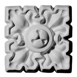 """Ekena Millwork - 4 1/8""""W  x 4 1/8""""H x  3/4""""P Leaf Rosette - Our rosettes are the perfect accent pieces to cabinetry, furniture, fireplace mantels, ceilings, and more.  Each pattern is carefully crafted after traditional and historical designs.  Each piece comes factory primed and ready for your paint.  They can install simply with traditional adhesives and finishing nails."""