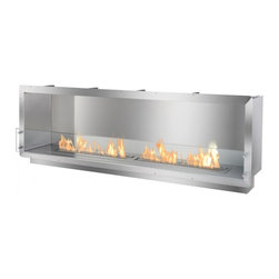 Ignis - Single-Sided Ethanol Fireplace Wall Insert - This ethanol firebox, intended to be constructed into the wall or a custom case offers a contemporary aesthetic, functional ambiance and warmth to any space. The FB6200S One-Sided Ethanol Firebox by Ignis is the longest single-sided firebox they manufacture. It uses patent-pending technology making it one of the safest built-in or recessed ethanol fireplaces available. On top of its safety measures, this fire box burns wholly-renewable ethanol fireplace fuel that only produces heat, water vapor and carbon dioxide into the air. Therefore, it is a ventless firebox without the hassles and restrictions presented by gas or wood-burning fireplaces.