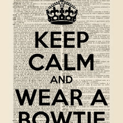 """Keep Calm Collection - Keep Calm and Wear A Bowtie, premium art print (dictionary background black text - High-quality art print on heavyweight natural white matte fine art paper. Produced using archival quality inks giving the print a vivid and sharp appearance. Custom trimmed with 1"""" border for framing."""
