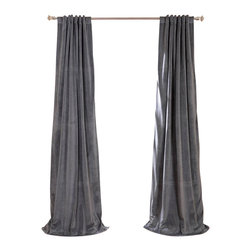 Exclusive Fabrics & Furnishings, LLC - Signature Natural Grey Blackout Velvet Curtain - 100% Poly Velvet. 3 Pole Pocket with Back Tab (Hidden Tab) & Hook Belt Header. Plush Blackout Lining. Imported. Dry Clean Only.