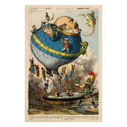 Italian Political Cartoon, 1880 Print - I volatori. Les messieurs qui volent