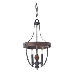"Murray Feiss - Murray Feiss F2795/3AF/CBA Chandelier - Brown cord. Material: Steel / Wood. Number of Bulbs: 3. Bulb Base: Candelabra. Bulb Type: Incandescent. Watts Per Bulb: 60. Wattage: 180. Voltage: 120. Bulb Included: No. Height: 21.25"". Diameter: 12"". Canopy Width: 5.875"". Chain Length: 60"". Wire Length: 180"". Light Direction: Up Lighting. UL Listed: Yes. UL Rating: Dry Location."