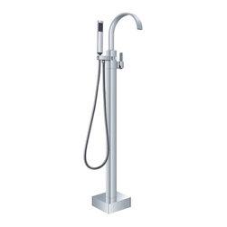 Chieti - Chrome Finish Single Handle Modern freestanding bathtub faucet -