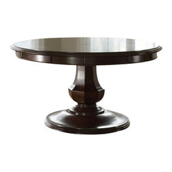 The Sienna Round Table by Brownstone - The Sienna Round Table by Brownstone is elegant and refined - it can be dressed up, but is stylish enough to be used in relaxing setting. The dinning top is made from richly grained mahogany with a warm chestnut finish. This classic, 56' round table extends to 72' with its perimeter extension leaves.