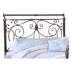 Hillsdale Furniture - Hillsdale Brady Sleigh Headboard with Rails - King - Hillsdale Furniture's Brady bed is an exquisite display of free-flowing scrollwork and intricate castings. This sturdy yet romantic bed features an antique bronze finish and has a slight sleigh silhouette. From the feet to the top rail, the intriguing details are what set this bed apart from the others and makes it a fantastic addition to your master or guest bedroom.