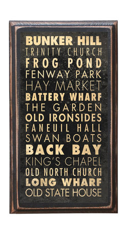 """CrestField - Boston Points of Interest Vintage-Style Wall Plaque - This vintage style wall plaque is hand made to commemorate the points of interest in Boston. The pine board has a quarter round routed edge and is sized at 7.25"""" x 13"""" x .75"""". The surface is finished with my """"flatter than satin"""" poly finish with a saw tooth hanger on the back. Would look great in any decoration project, home or office."""
