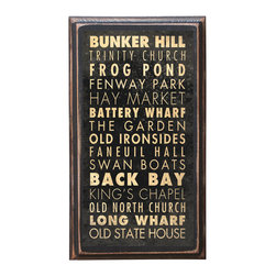 "CrestField - Boston, MA Points of Interest Decorative Vintage Style Wall Plaque / Sign - This vintage style wall plaque is hand made to commemorate the points of interest in Boston. The pine board has a quarter round routed edge and is sized at 7.25"" x 13"" x .75"". The surface is finished with my ""flatter than satin"" poly finish with a saw tooth hanger on the back. Would look great in any decoration project, home or office."