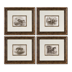 Uttermost - Uttermost 33590  Horses Framed Art Set/4 - Accented by white mats, these prints are surrounded by bronze leaf frames with a black wash. matching fillets are around inner edges of mats. prints are under glass.