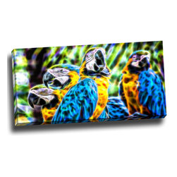 Parrot Party - Animal Canvas Art, 32W x 16H, 1 Panel - This animal artwork is a gallery wrapped canvas piece. This design is printed in high quality fade resistant ink on premium quality cotton canvas.