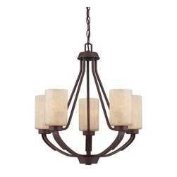 "Savoy House - Savoy House 1-5430-5-117 Heritage Bronze Berkley 5 Light 1 Tier - Savoy House 1-5430-5 Berkley 5 Light 1 Tier ChandelierWith its rich Heritage Bronze finish, hammered details, and Hand painted Cream glass, this five light Chandelier is perfect for today s casual lifestyle. A signature piece from the Berkley collection, this piece will add warmth to your home with its warm transitional styling. Berkley will add warmth to your home with its warm transitional styling. This stylish collection has a rich Heritage Bronze finish, hammered details, and Hand painted Cream glass, making it perfect for today s casual lifestyle.Savoy House 1-5430-5 Features:Hand Painted Cream GlassCylinder Shaped Shades5 Arms1 TierUL / CUL Listed for Dry LocationsSavoy House 1-5430-5 Specifications:Requires (5) x 60 Watt Medium Base Bulbs (Not Included)Voltage: 120Height: 23""Width: 22""Weight: 14.78When you choose a Savoy House lighting fixture, you can be certain you ve selected a piece that will withstand the test of time. Known for meticulous craftsmanship, attention to detail, and elegant, timeless designs, the Savoy House brand is a top choice among designers and consumers alike."