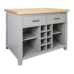 """Hardware Resources - Jeffrey Alexander Conversation Kitchen Island in Grey (ISL13-GRY) - This 45"""" x 30"""" x 34 1/4"""" furniture style island is manufactured using the highest quality furniture grade hardwoods and MDF. This slab front island features two working drawers removable center wine rack and adjustable open shelves on one side and seating space on the other. The deep drawers are dovetailed solid hardwood and are mounted on full extension undermount soft close slides. 1 3/4"""" hard maple edge grain butcher block top sold separately ISL13 TOP 48"""" x 32"""". The included decorative hardware can be found in the Jeffrey Alexander Merrick Collection (549 128). Gray finish is applied by hand."""