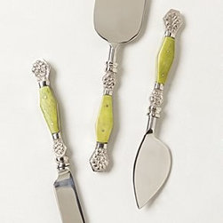 "Anthropologie - Resplendent Cheese Knives - Three piece set. Brass, bone, stainless steel. 7.75""L. Hand wash. Imported"